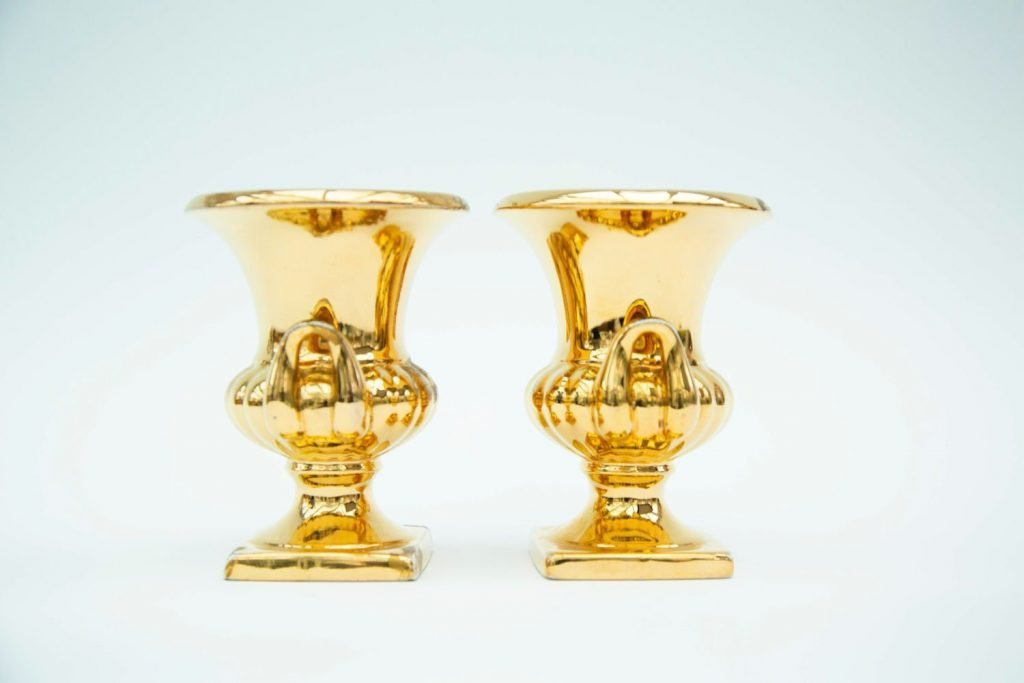 Vintage & Bespoke Ltd. - Vintage China - Pair of Gold China Vases