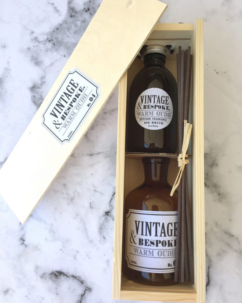 Warm Oudh Reed Diffuser Gift Box from Vintage and Bespoke Ltd