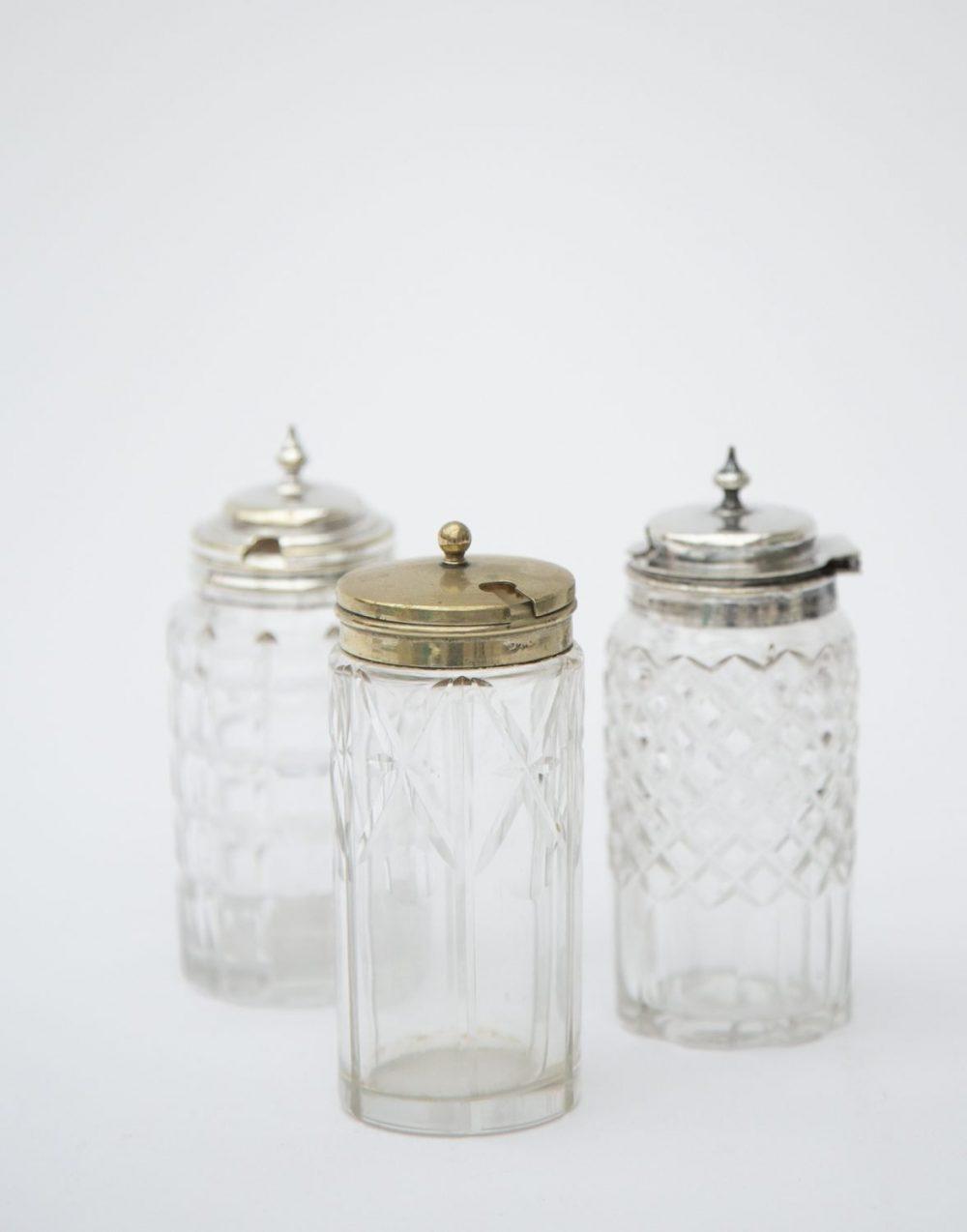 Vintage glass mustards