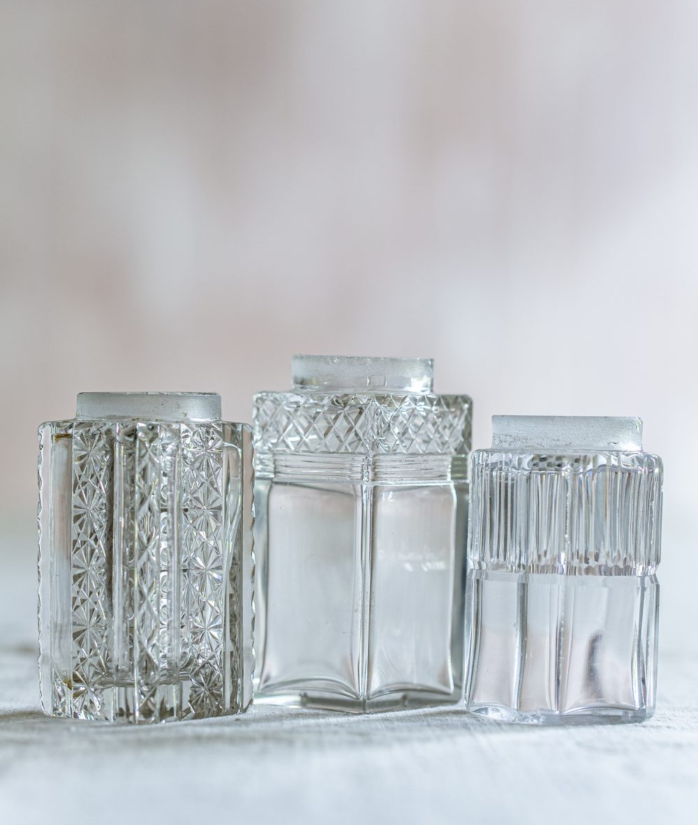 set of three square vintage mini vases