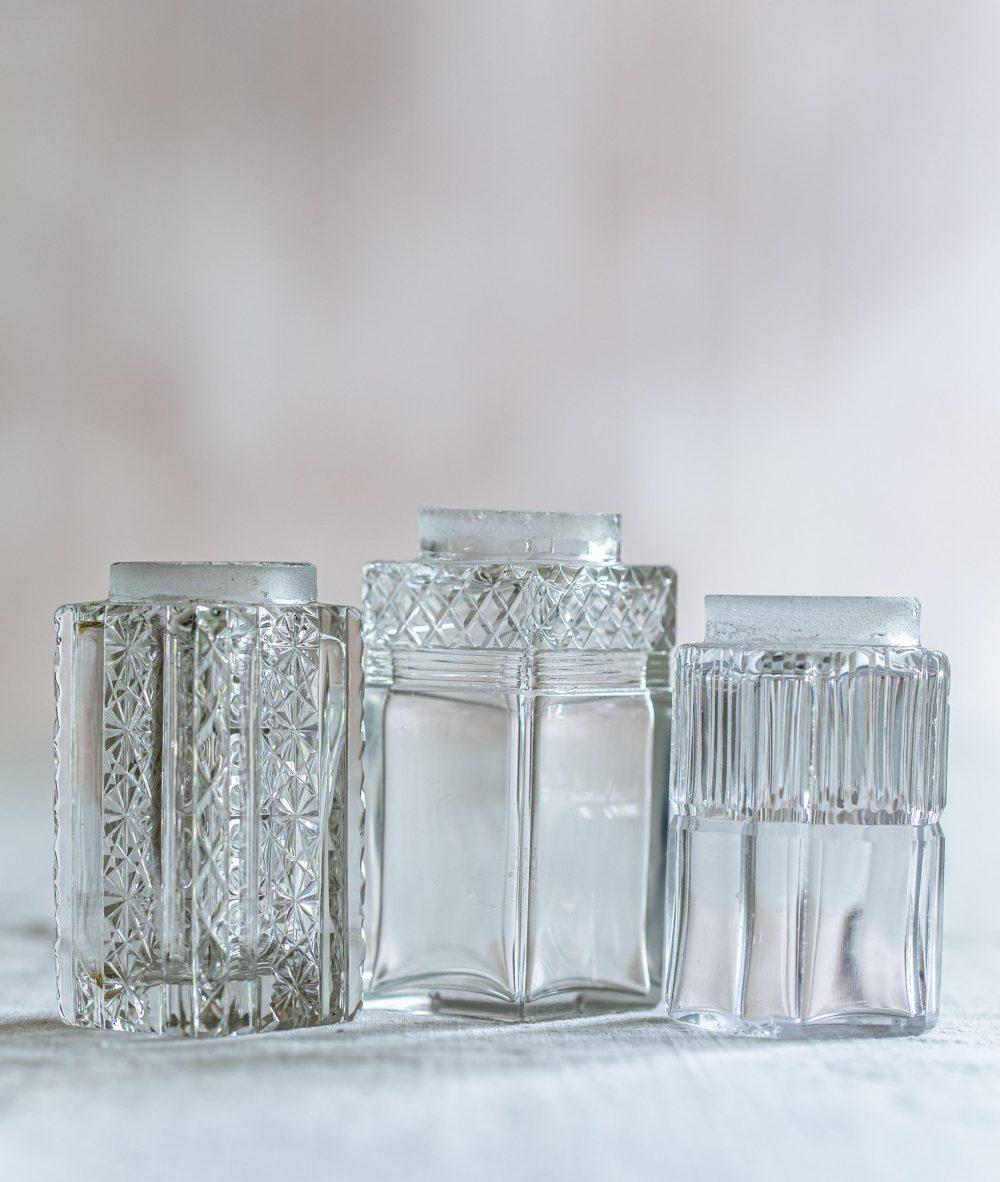 set of three square vintage mini vases