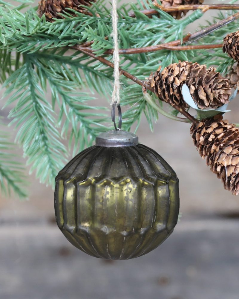 Moss green vintage glass bauble from Vintage and Bespoke ltd