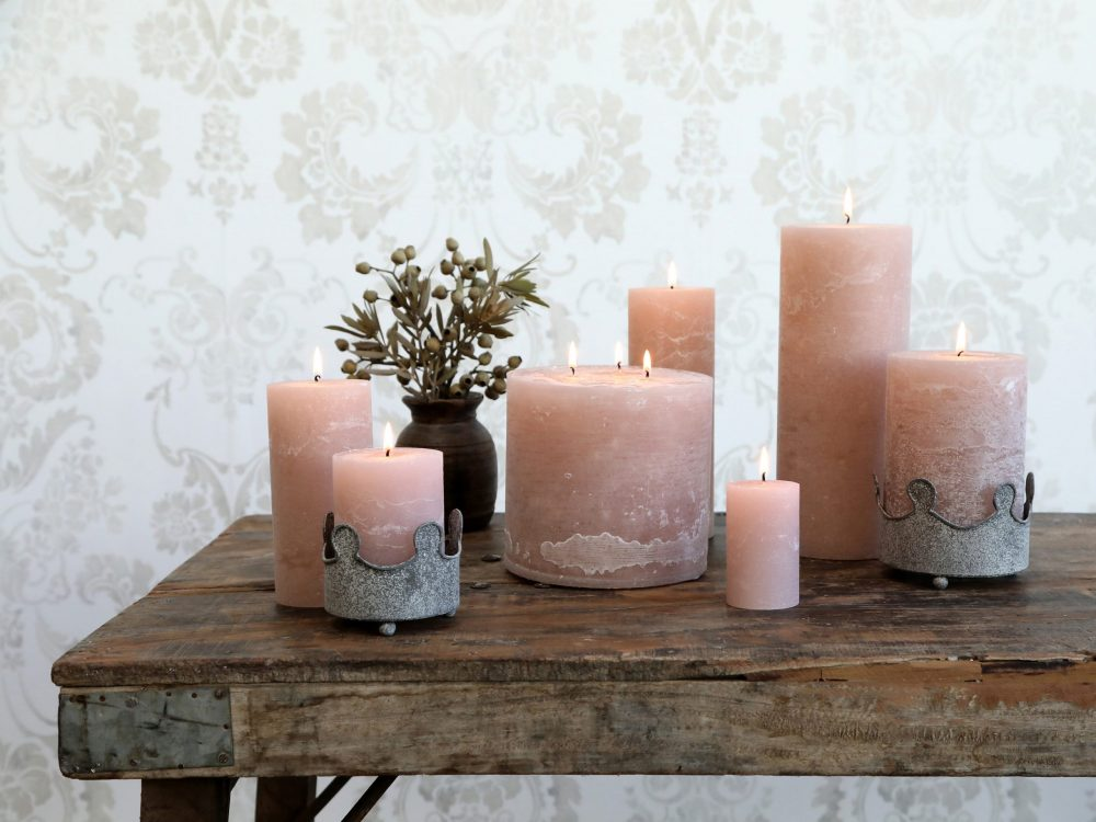 Dusty Rose Pink Pillar Candle