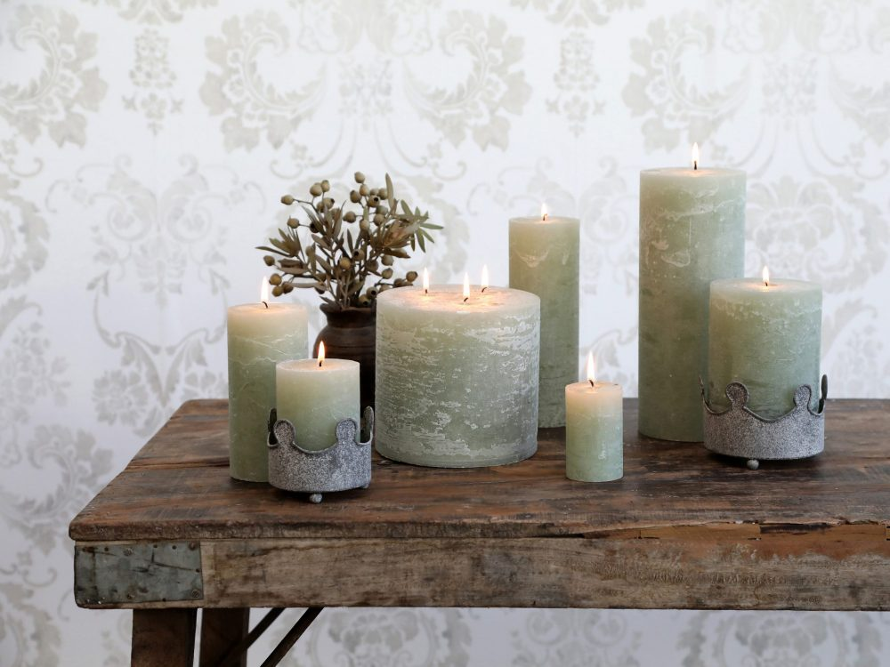 Soft Sage Pillar Candles