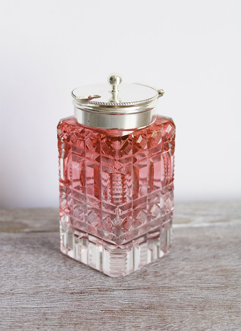 cranberry glass mustard pot