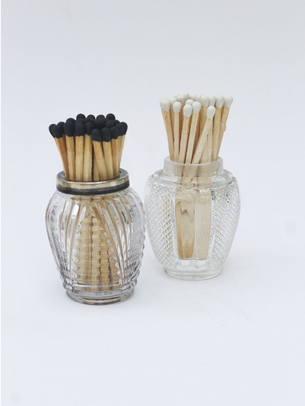Tall Black or white Tip matches in Vintage Pots
