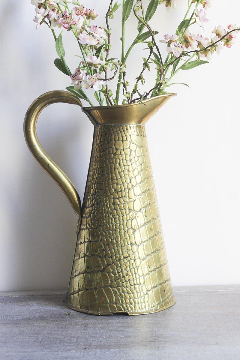 croc brass vase