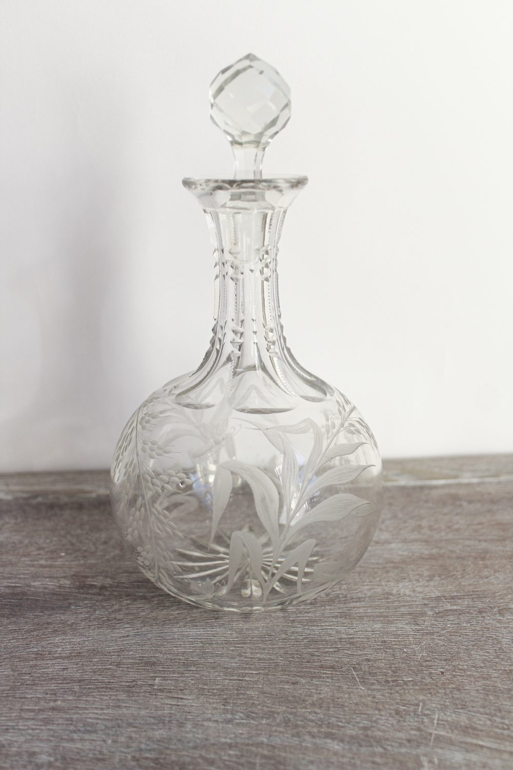 fern etched decanter