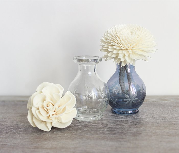 clear mini glass diffuser bottles