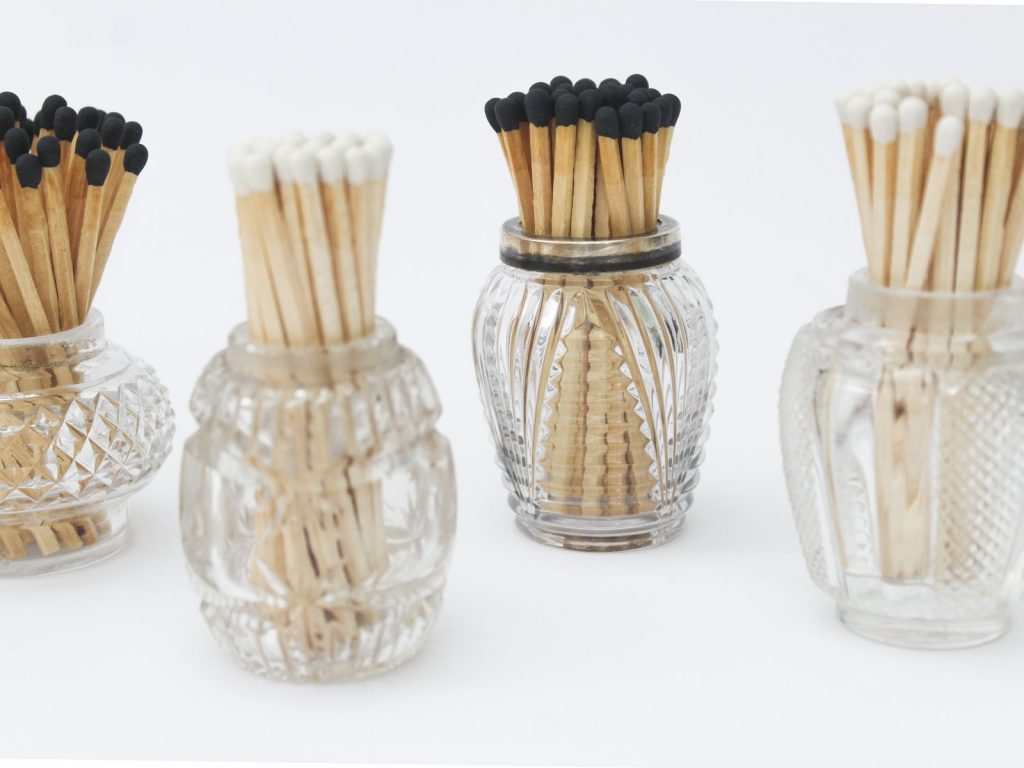 White Tip Matches in Vintage Pots