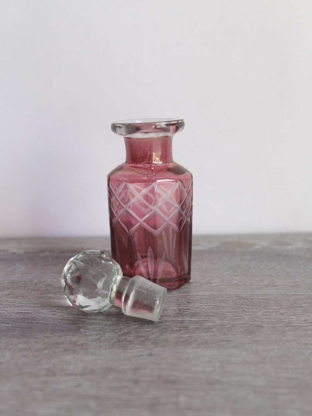 mini cranberry glass bottle
